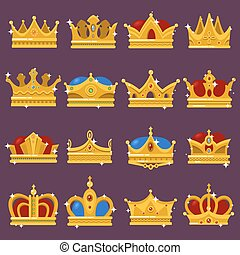 Monarch shining crown, pope tiara, queen headdress