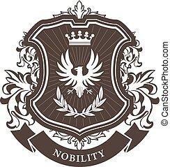 monarchie, embleem, schild, jas, heraldisch, krans, kroon, armen, -, laurier, koninklijk