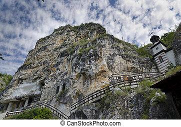 monastère, basarbovo, rocher, rue, dimitrii