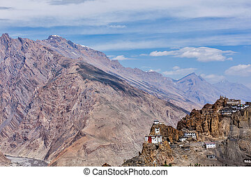 monastère, bouddhiste, falaise, dhankar, gompa