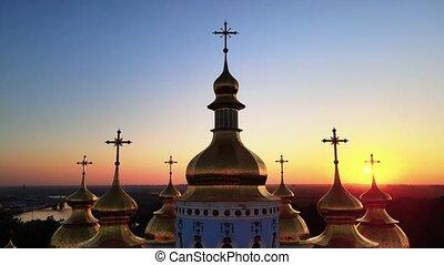 monastère, kyiv, morning., golden-domed, michael's, rue., ukraine