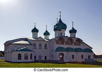 monastère, rue., transfiguration, églises, svir, russie, alexandre