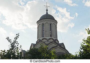 monastère, vieux, dôme, église
