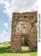 monastère, vieux, ruines, chiajna