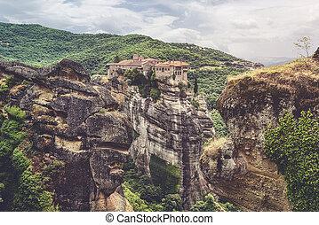 Monasteries of Meteora, Greece, built on huge rocks in a beautiful landscape