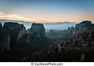 Monasteries on the rocks in Meteora, Greece