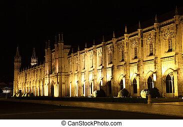 monasterio, hieronymites, night., portugal, lisboa