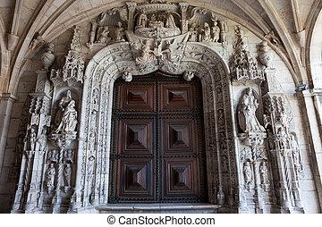 monasterio, lisboa, jeronimos, portal, iglesia