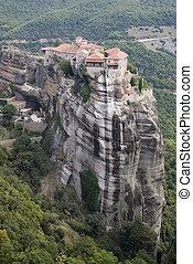 """Monastery at Meteora - The Meteora (""""suspended rocks"""") is ..."""
