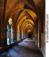 Cloister of Veruela Monastery in Aragon, cistercian style