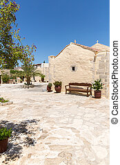 Monastery (friary) in Messara Valley at Crete island in Greece. Messara - is the largest plain in Crete