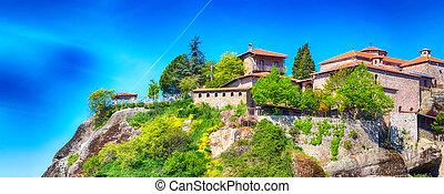 Monastery in Meteora rocks, Greece