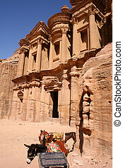 monastery in rock city Petra