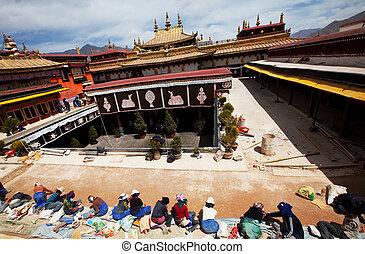 Monastery in Tibet - Workers in tibetan monastery,Lhasa,...