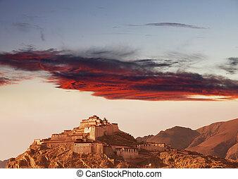 Monastery in Tibet -  tibetan monastery, Tibet
