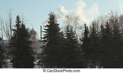 Monastery in Veliky Novgorod, Russia in winter - White...