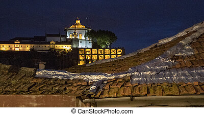 Monastery in Vila Nova de Gaia at sunset, viewed from Porto, Portugal