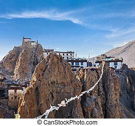 monastery), (lungta)., dhankar, dhankar, spiti, bouddhiste, inde, gompa, drapeaux, himachal, prière, (tibetan, vallée, pradesh