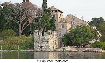 Monastery of Saint Mary on island Mljet - National park on...