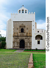 monastery of San Agustin in town of Acolman, Mexico -...