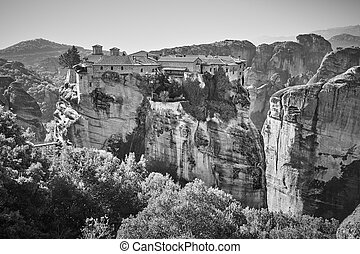 Monastery on the cliff in Meteora in Greece