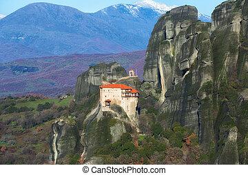 Monastery on the rocks in Meteora, Greece