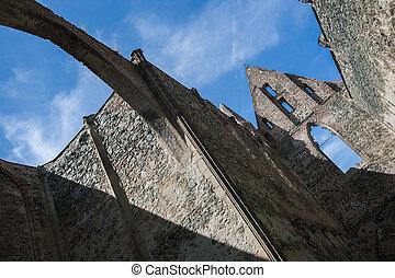 monastery., roofless, checo, rosa, dolni, kounice, república, misterioso, viejo, coeli