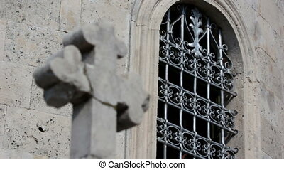 Monastery Savina, window and cross