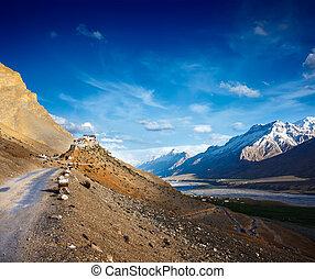 monastery., valle, kee, key), himachal, (ki, pradesh, spiti,...