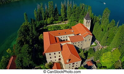 Monastery Visovac, aerial circular shot - Copter aerial...