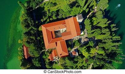 Monastery Visovac, aerial descenting shot