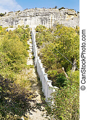 monastery walls in gorge, Crimea - monastery walls in gorge...