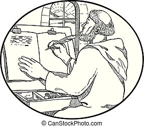 Drawing sketch style illustration of a monastic medieval monk writing illuminated manuscript inside European monastery or scriptorium set inside oval on isolated white background in black and white.