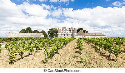 Monbazillac Castle with vineyard, Aquitaine, France