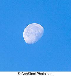mond, auf, a, blauer himmel