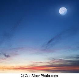 mond, auf, der, abend, sky.