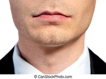 mond, closeup, zakenmens