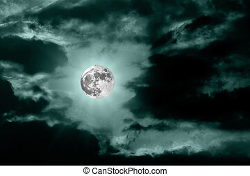 mond, dunkeln, blaues, nacht himmel