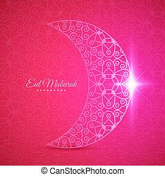 mond, für, moslem, gemeinschaft, fest, eid, mubarak