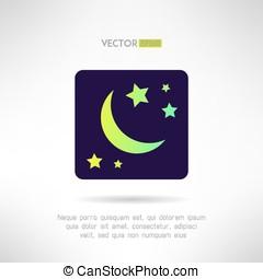 mond, halbmond, und, sternen, icon., nacht