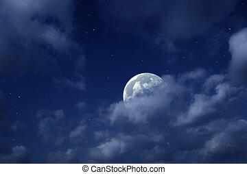mond- himmel, sternen, bewölkt , planeten