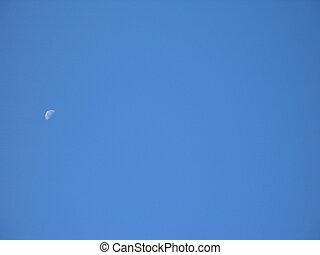 mond, in, der, blauer himmel