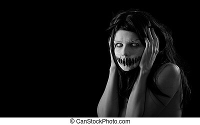mond, meisje, halloween, schrikaanjagend