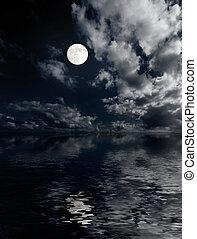 mond, und, wolkenhimmel, oben, meer, nacht