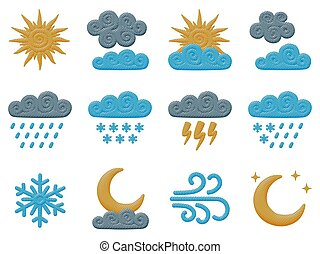 mond, wolkenhimmel, lockig, sonne, vektor, satz, himmelsgewölbe, regen