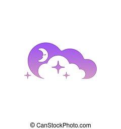 mond, wolkenhimmel, und, sternen, icon., schablone, symbol,...