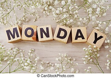 monday alphabet letters on wooden background