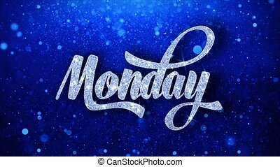 Monday Blue Text Wishes Particles Greetings, Invitation, ...