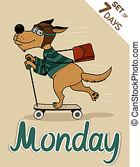 monday - Monday, weekdays hipster vector illustration...