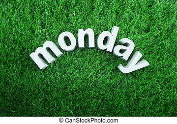 Monday made from concrete alphabet
